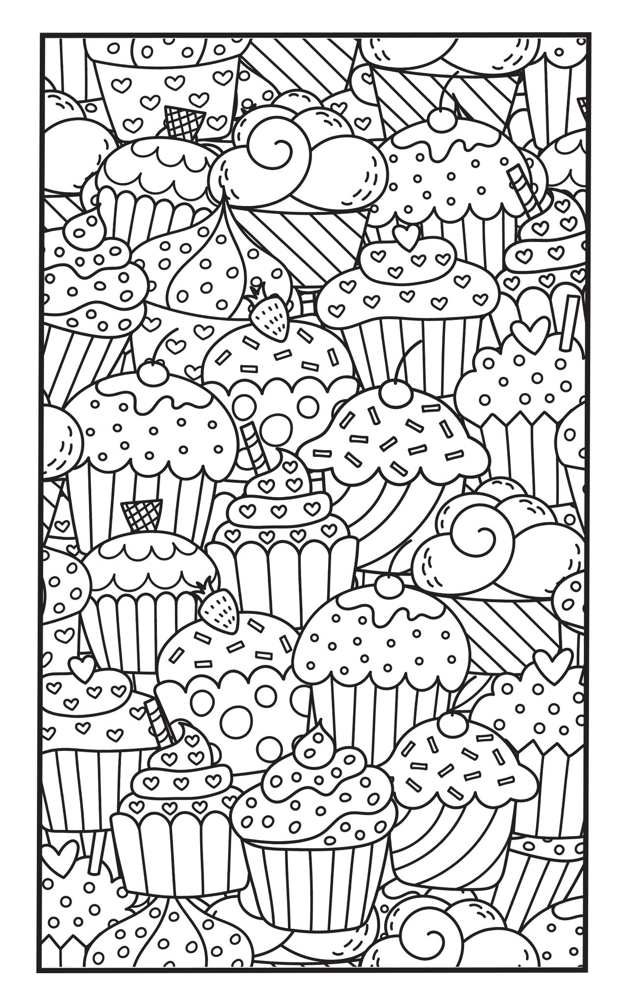 SWEET TREATS Adult Coloring Book Includes 12 Colored Pencils Travel Size