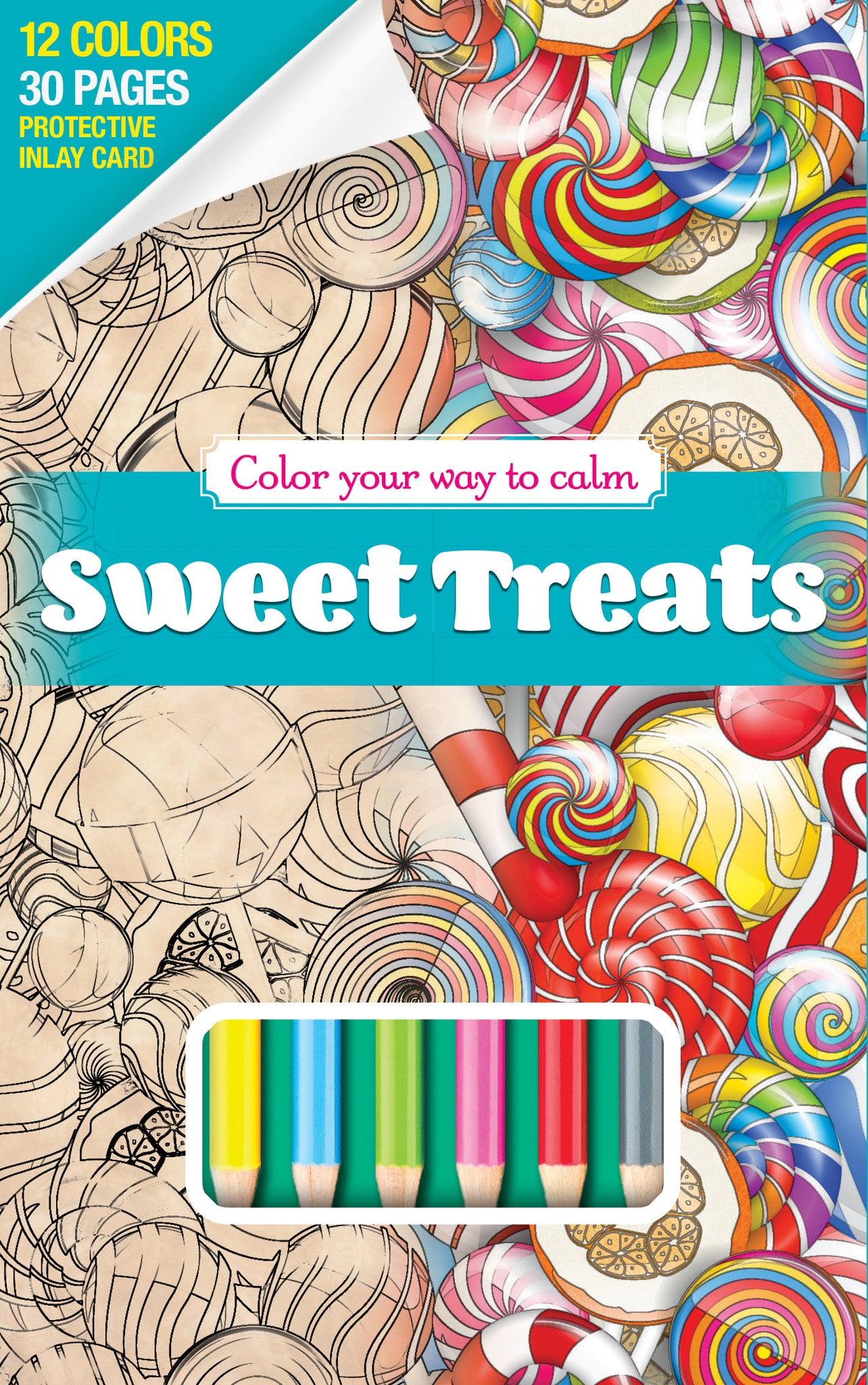 sweet treats coloring book with color pencils travel size