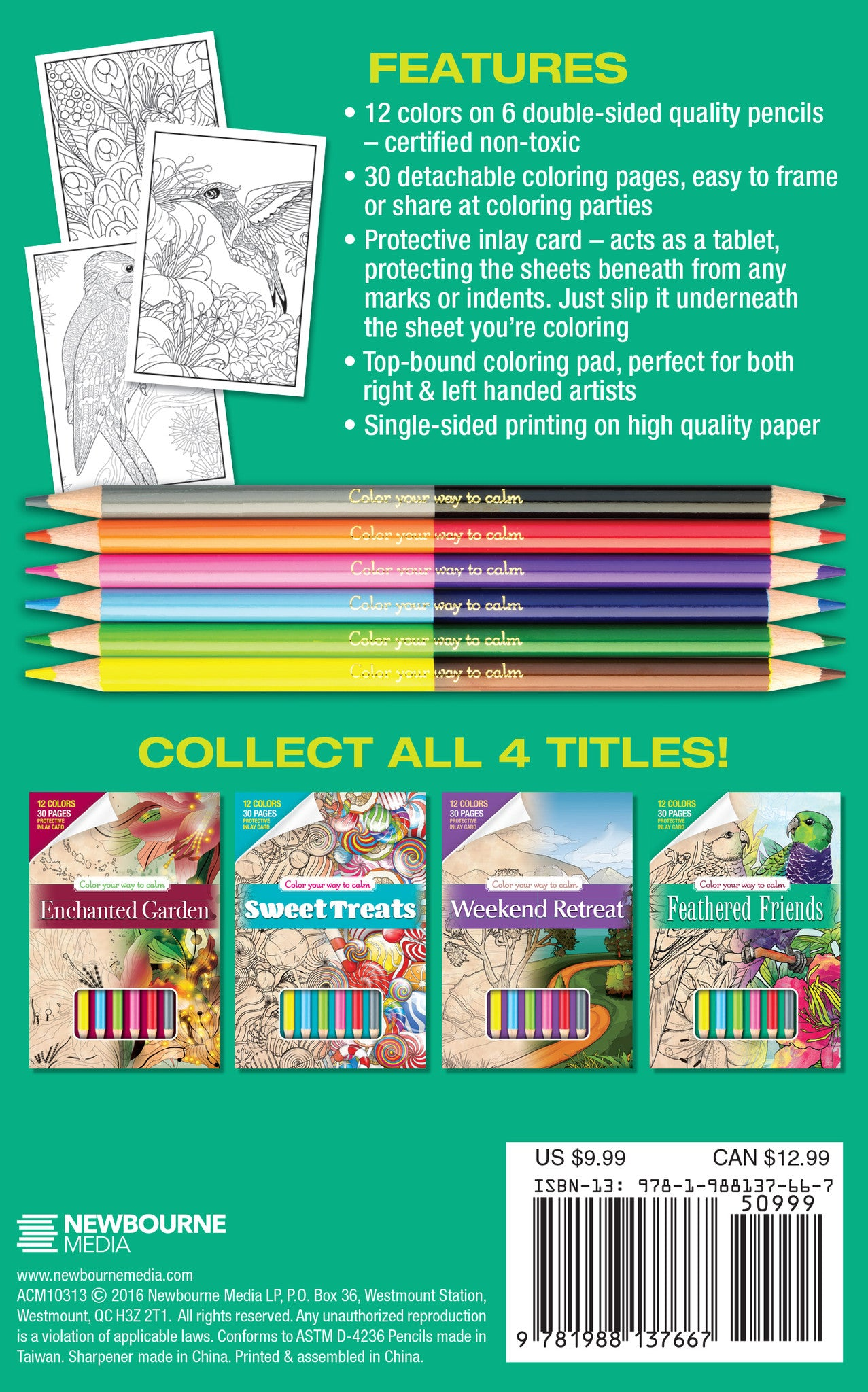 FEATHER FRIENDS Adult Coloring Book Includes 12 Colored Pencils Travel Size