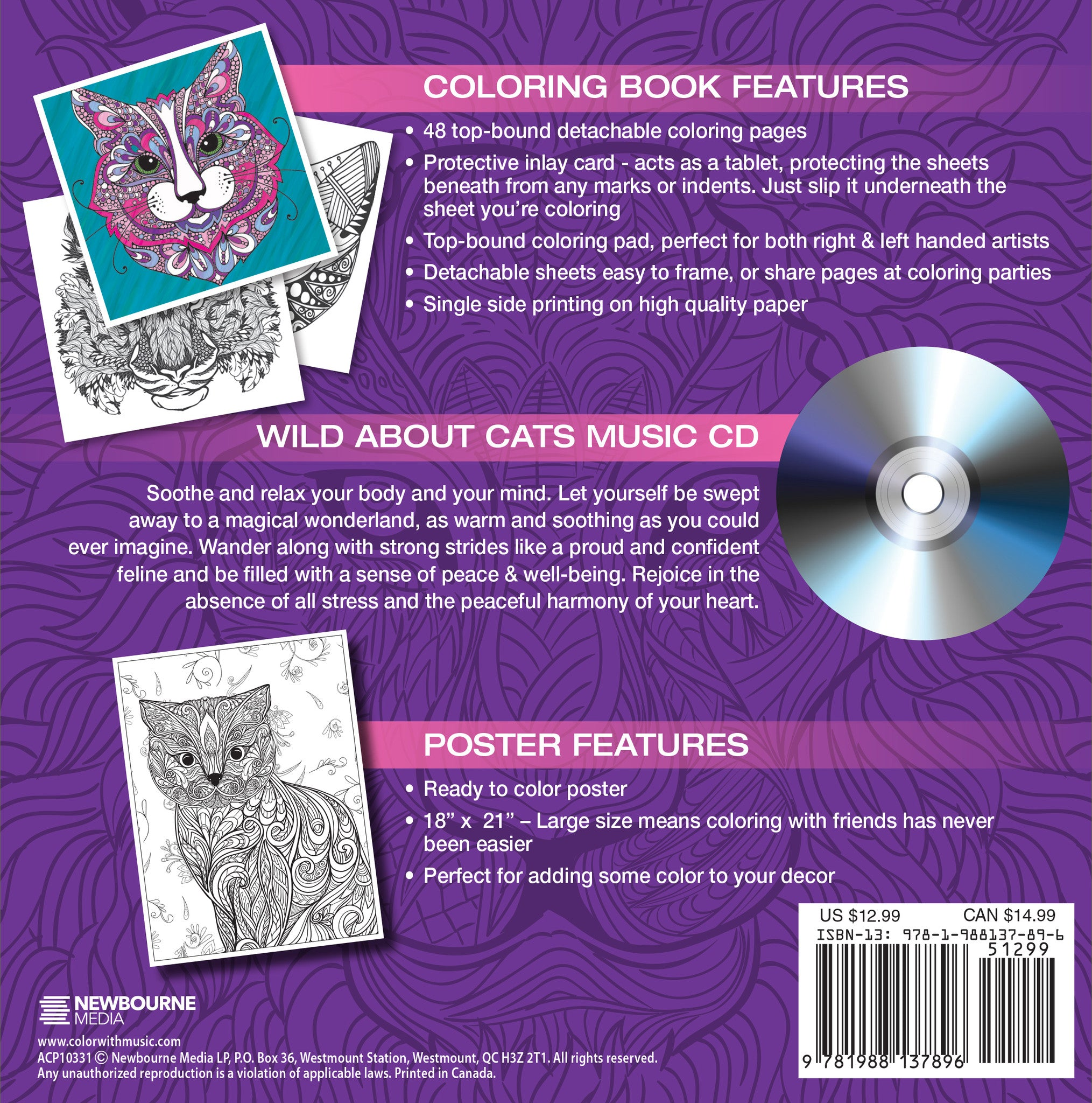 Color cats like - Wild About Cats Adult Coloring Book With Bonus Fold Out Poster And Music Cd