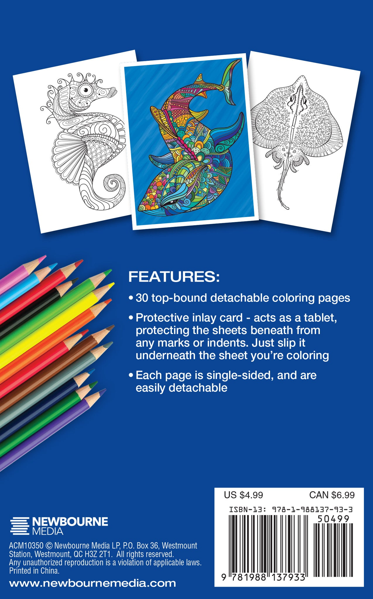 under the sea coloring book travel size color with music