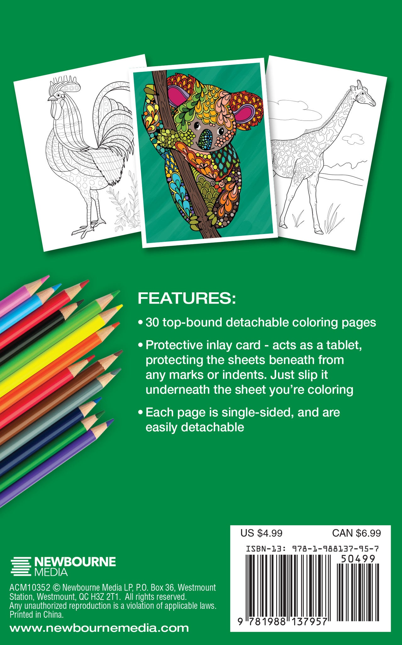 Animal World Adult Coloring Book Travel Size Color With Music