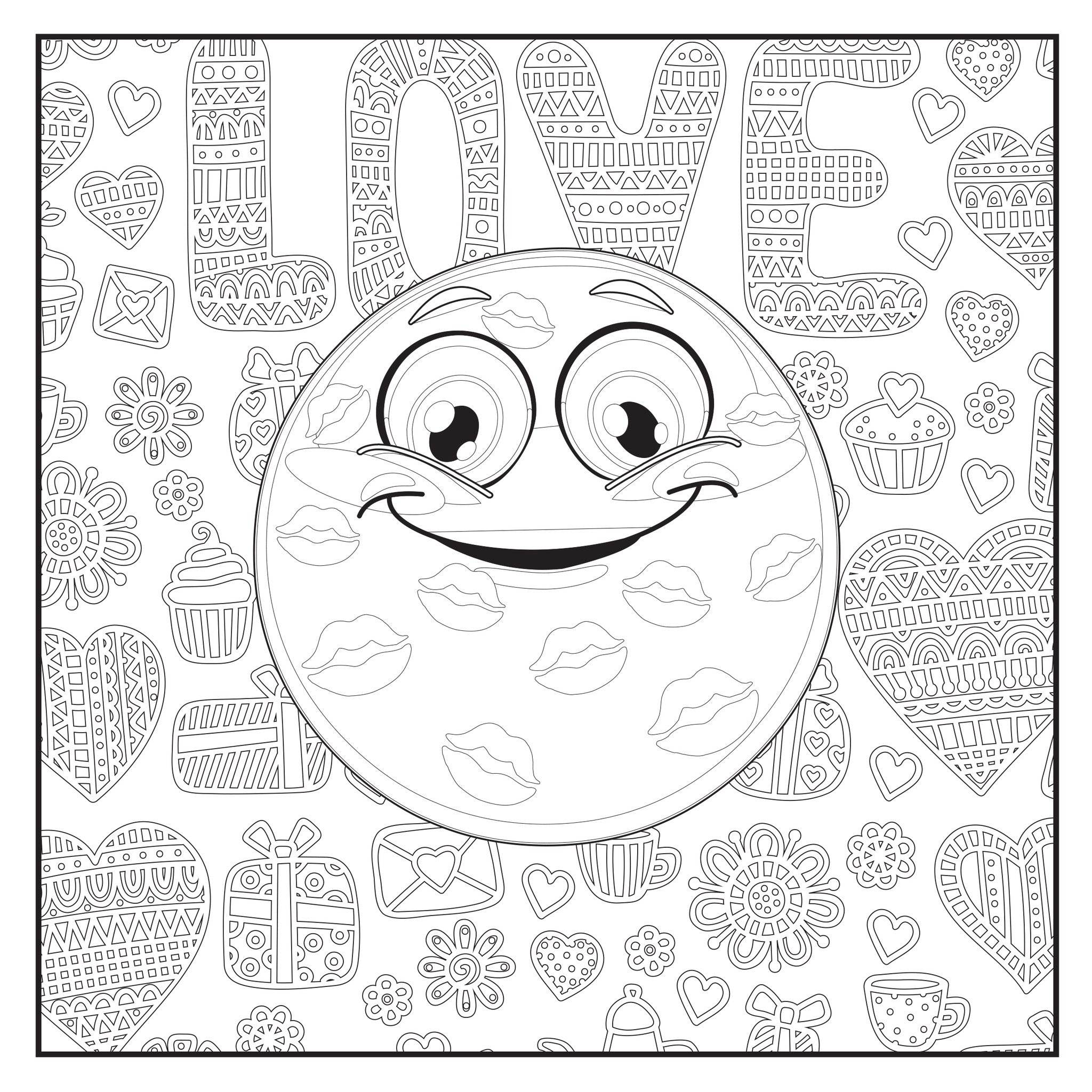 Emoji Love Coloring Book: 48 Pages For Adults, Teens and Kids ...