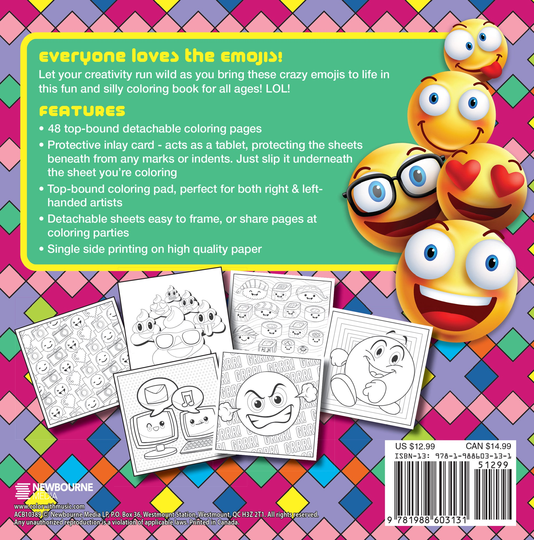 Emoji Crazy Coloring Book: 48 Pages For Adults, Teens and Kids ...