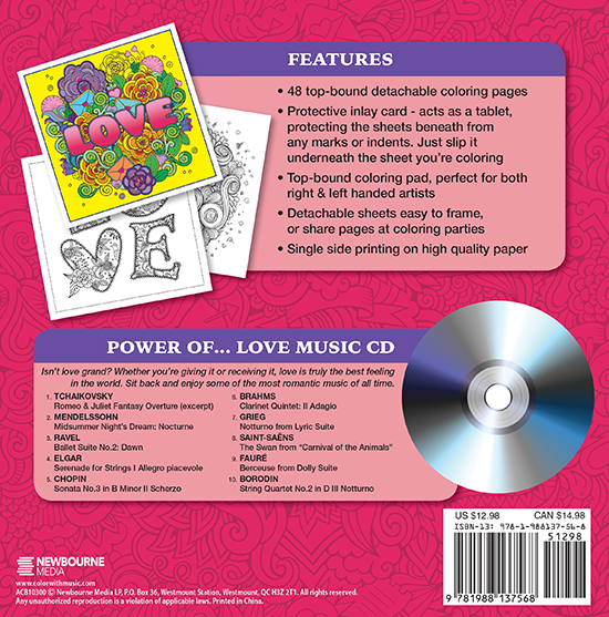 The Power Of Love Adult Coloring Book With Relaxation CD Back