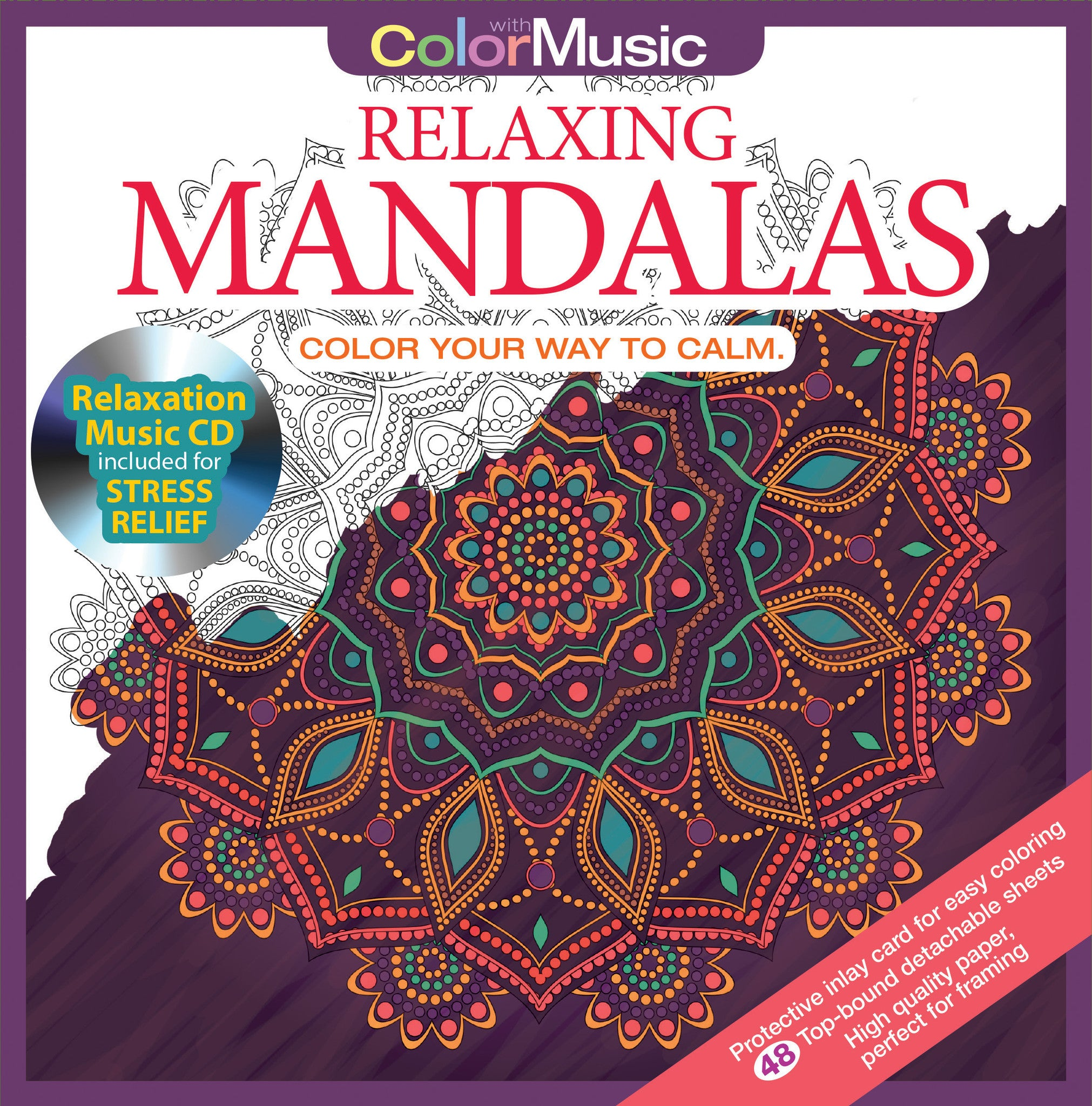 Relaxing Mandalas Adult Coloring Book With Colored Pencils Cover