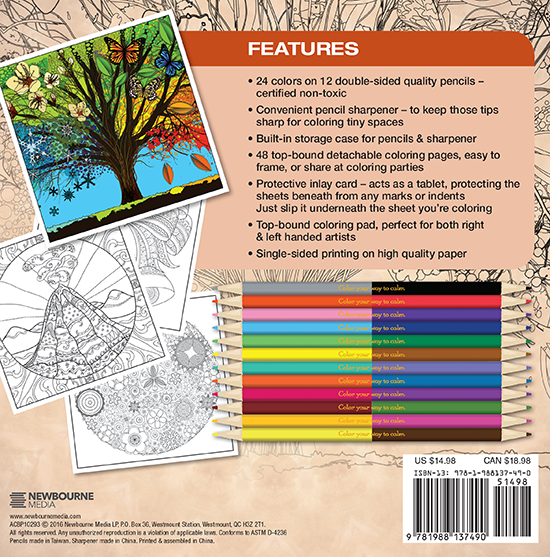 Seasons Adult Coloring Book With Colored Pencils Back