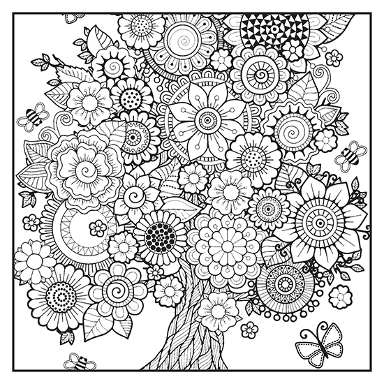seasons adult coloring book with color pencils color with music. Black Bedroom Furniture Sets. Home Design Ideas