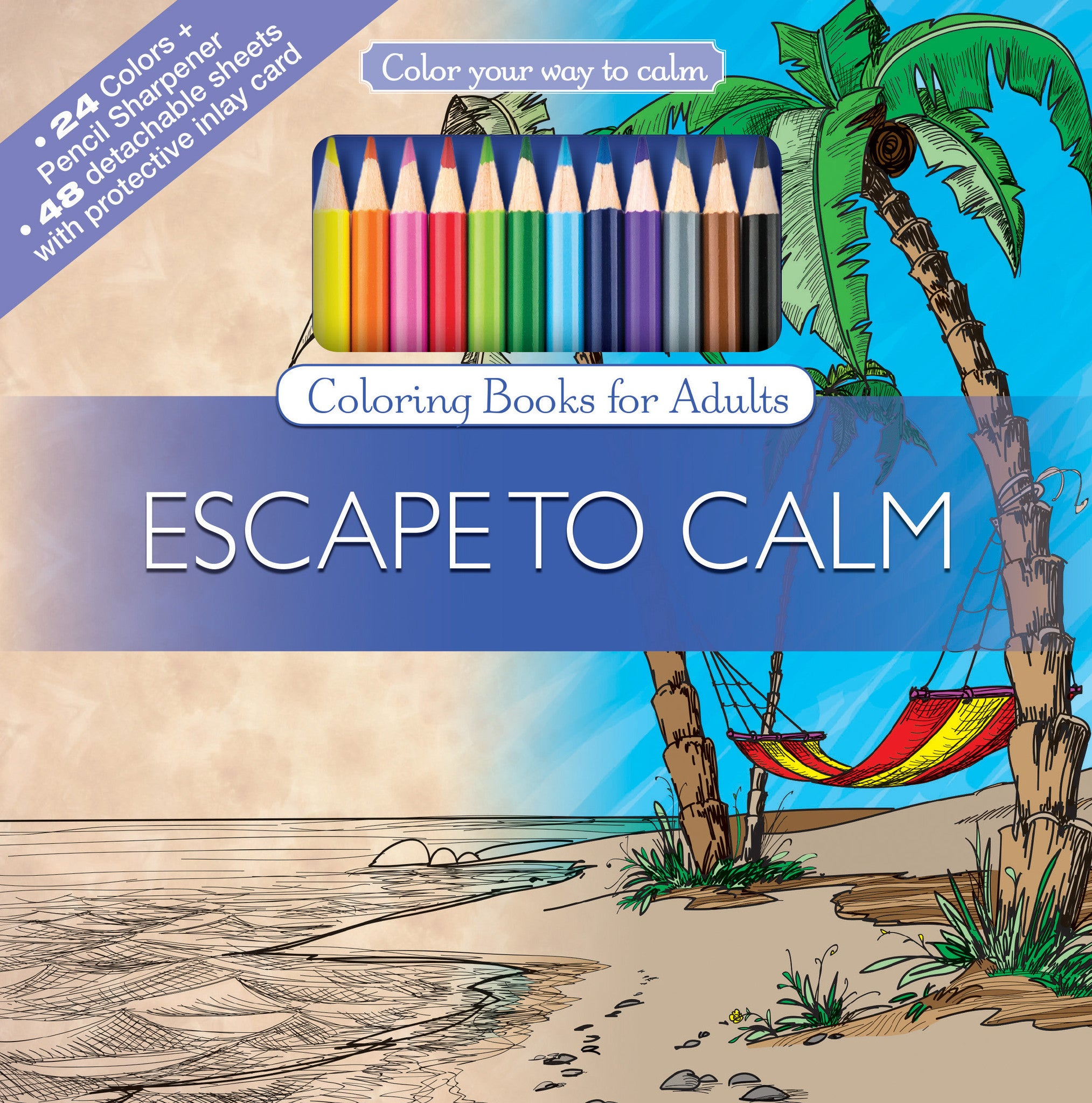 Escape To Calm Adult Coloring Book With Colored Pencils Cover