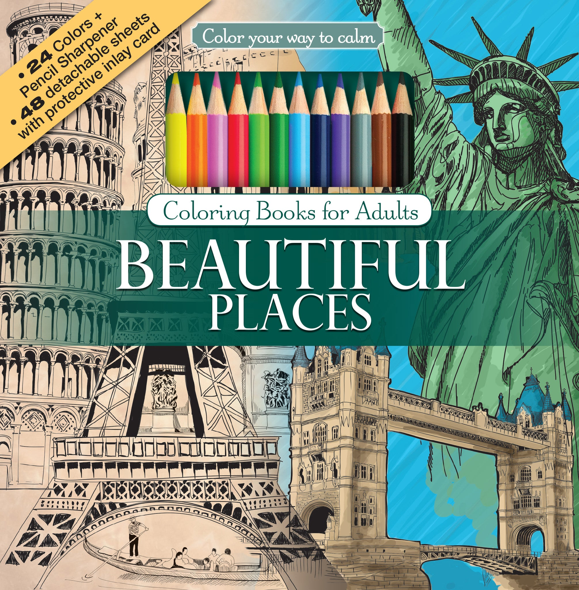 Coloring book landmark for adults -  Beautiful Places Adult Coloring Book With Colored Pencils Cover