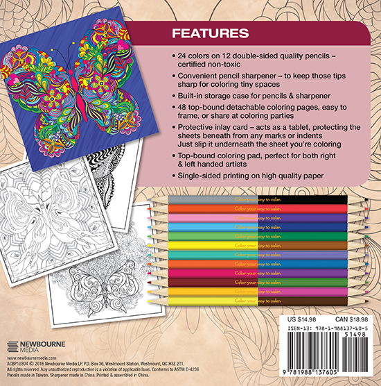 Butterflies Adult Coloring Book With Colored Pencils Back