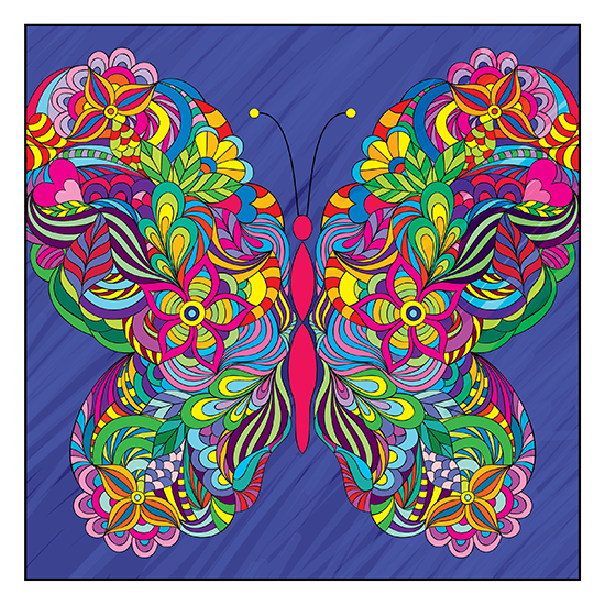 Butterflies Adult Coloring Book With Colored Pencils Page 1