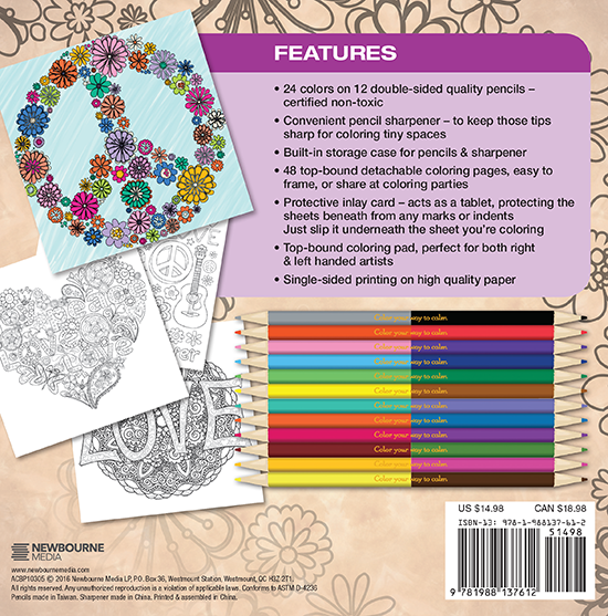 Flower Power Adult Coloring Book With Color Pencils - Color With Music