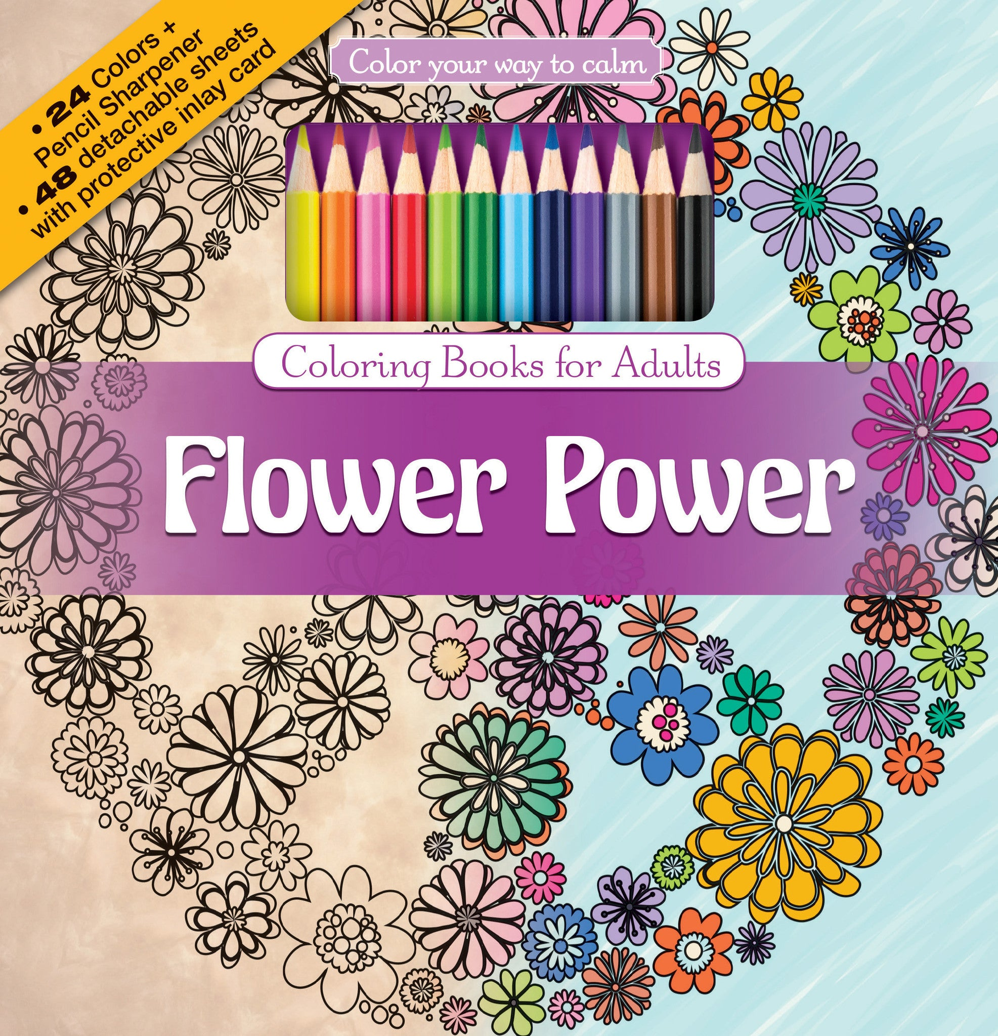 Flower Power Adult Coloring Book With Colored Pencils Cover