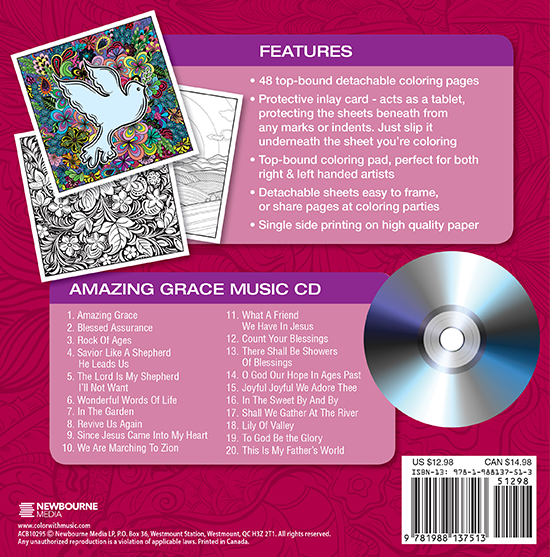 Amazing Grace Adult Coloring Book With Music CD Back