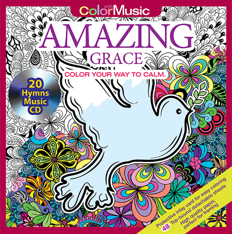 Amazing Grace Adult Coloring Book With Music CD Cover