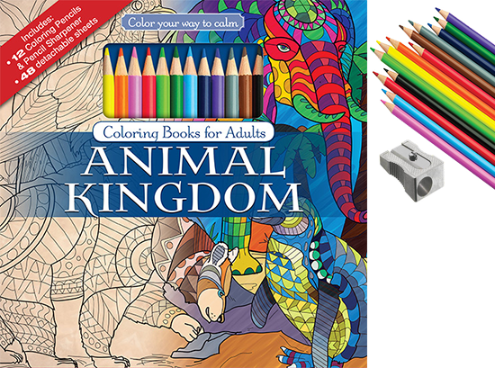 Animal Kingdom Adult Coloring Book With Color Pencils - Color With ...