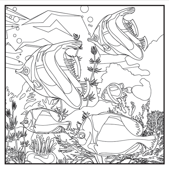 Tree fishes in a aquarium - Fishes Adult Coloring Pages | 552x550