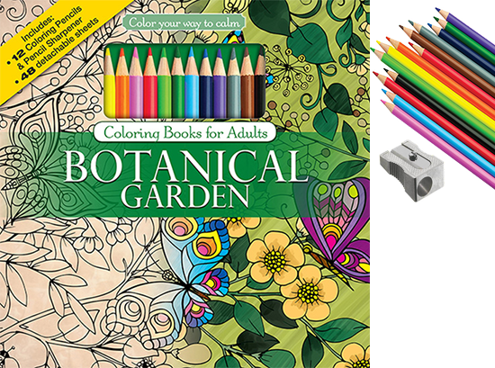 Botanical Garden Adult Coloring Book With Color Pencils