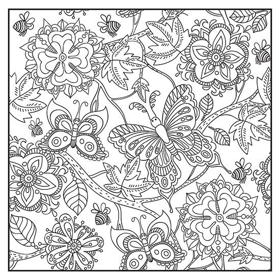 Botanical garden adult coloring book with colored pencils page 1