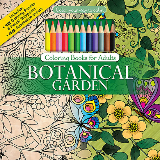 Botanical Garden Adult Coloring Book With Colored Pencils Cover