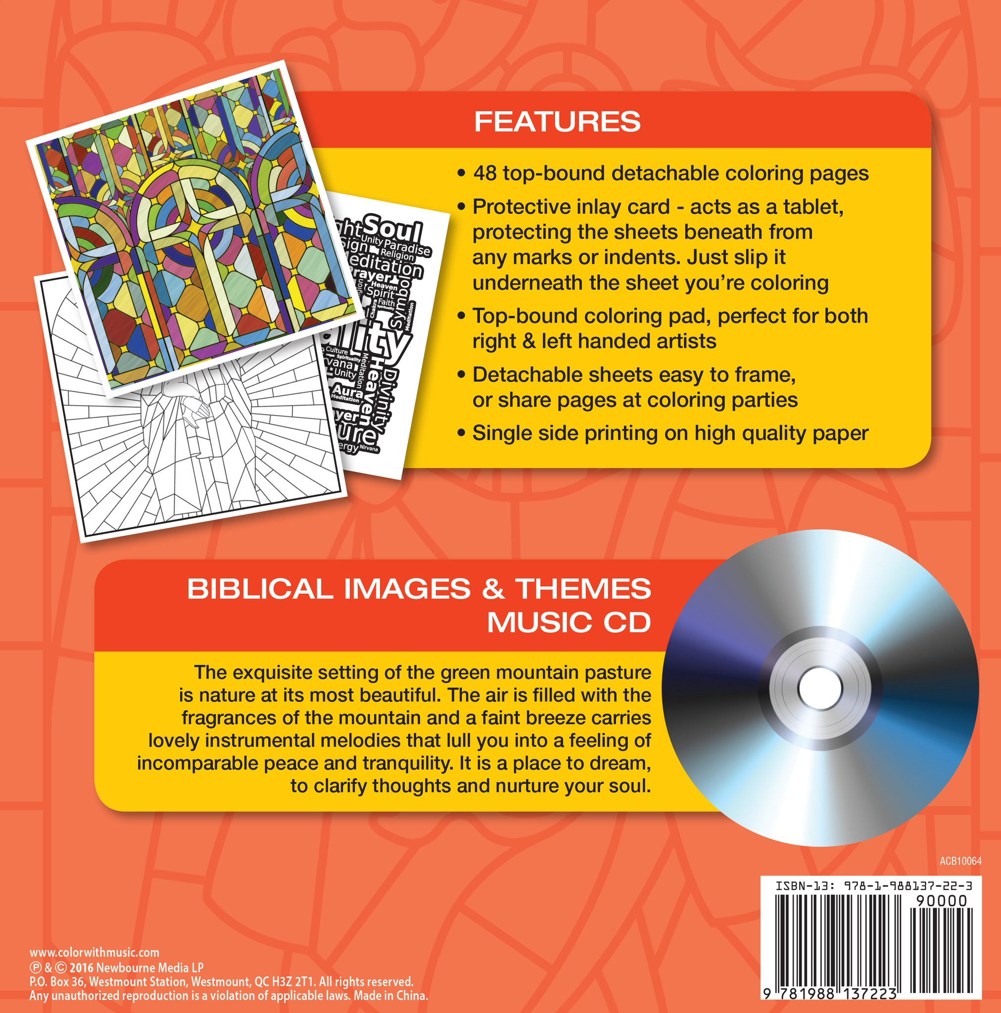 Color With Music Biblical Images Themes Adult Coloring Book Back