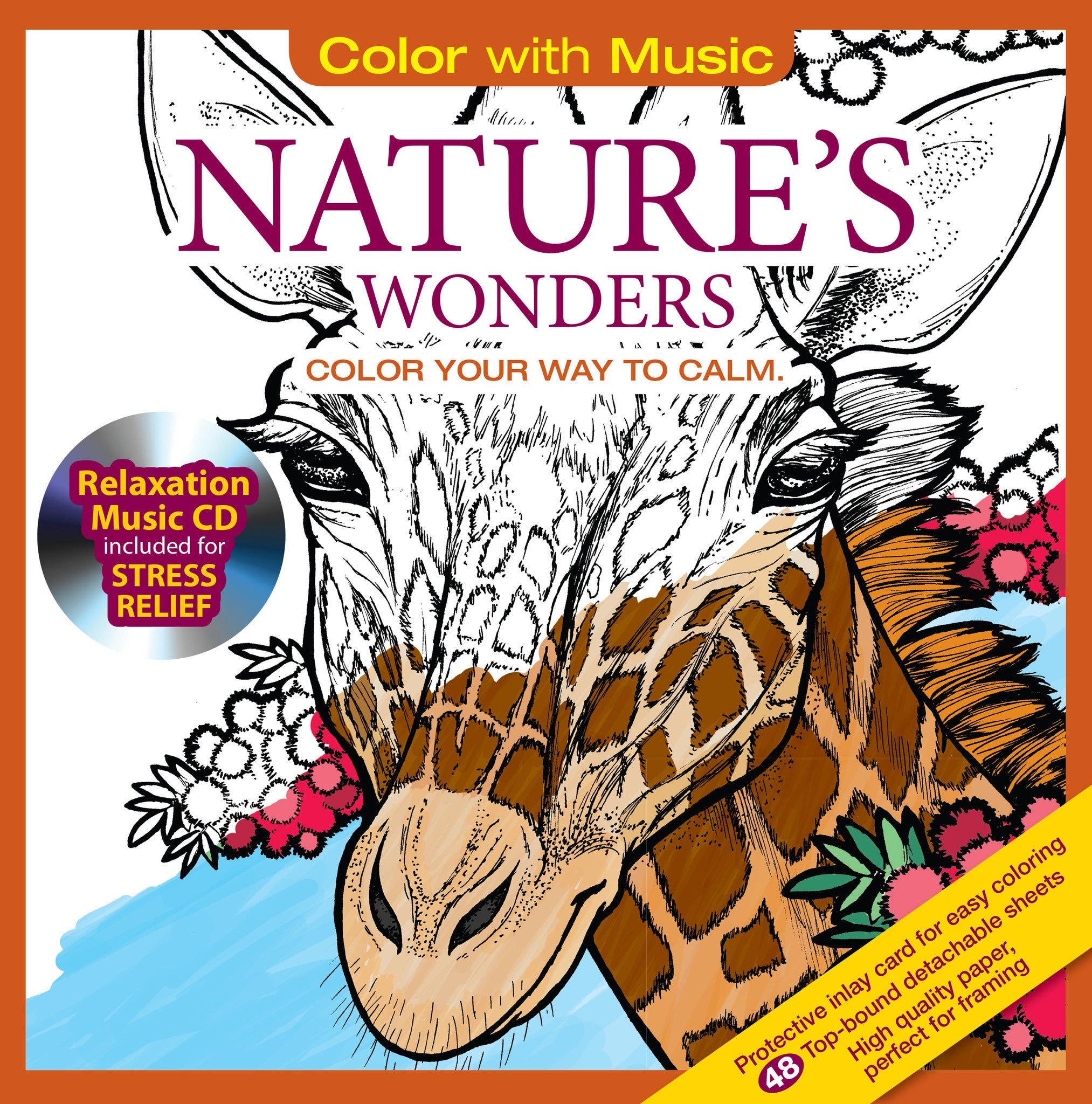 Nature\'s Wonders Adult Coloring Book With Relaxation CD - Color With ...