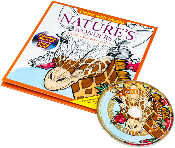 Nature 39 s wonders adult coloring book with relaxation cd Coloring book album cover