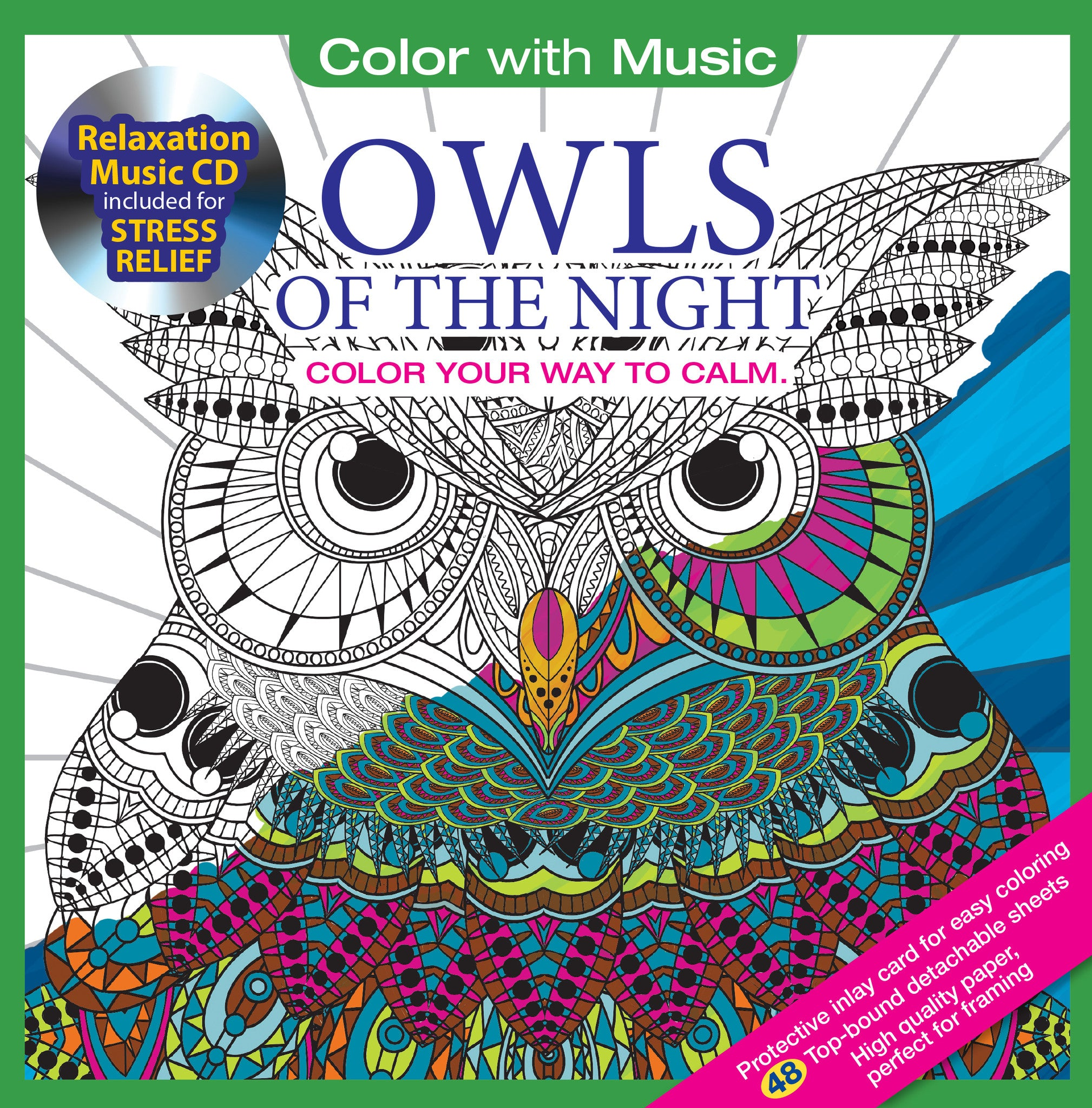 Color With Music Owls Of The Night Adult Coloring Book Cover