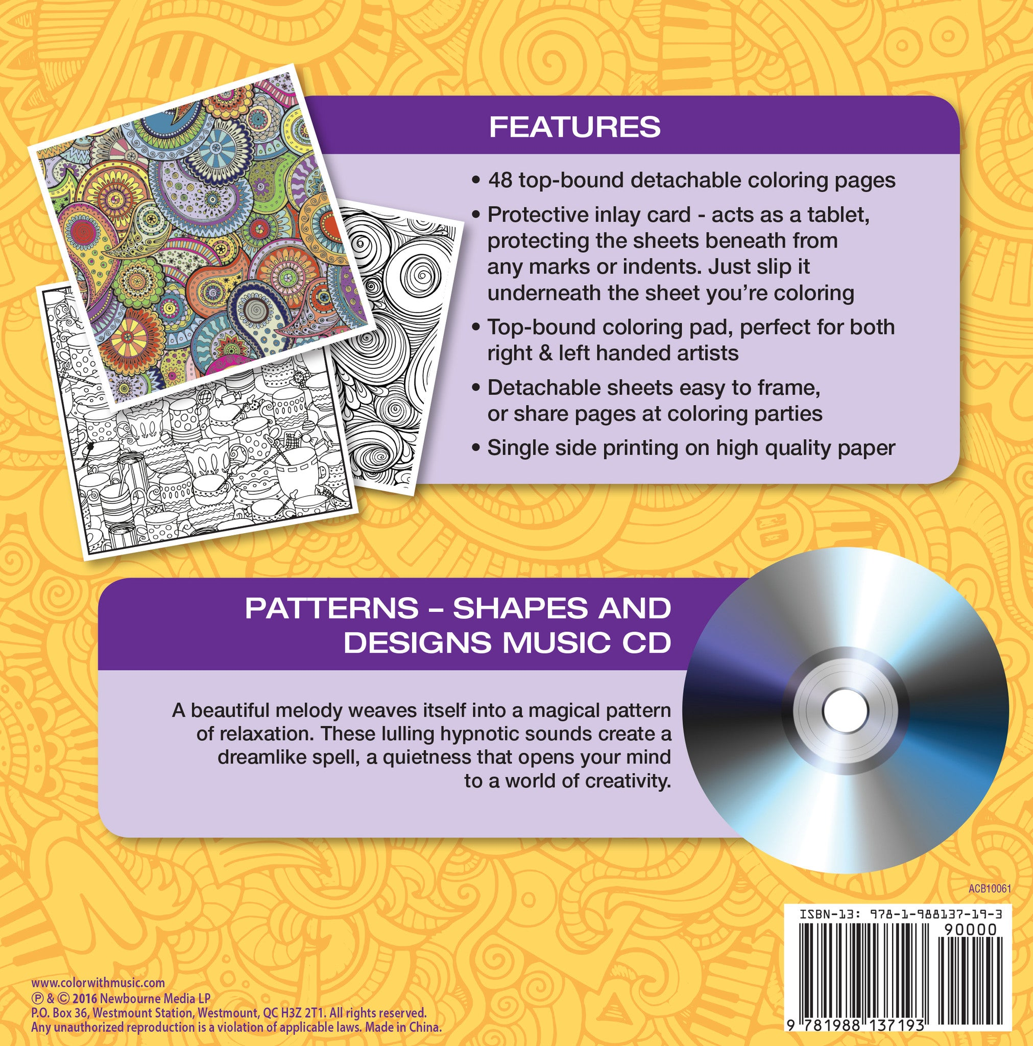 Color With Music Patterns Shapes And Designs Adult Coloring Book Back
