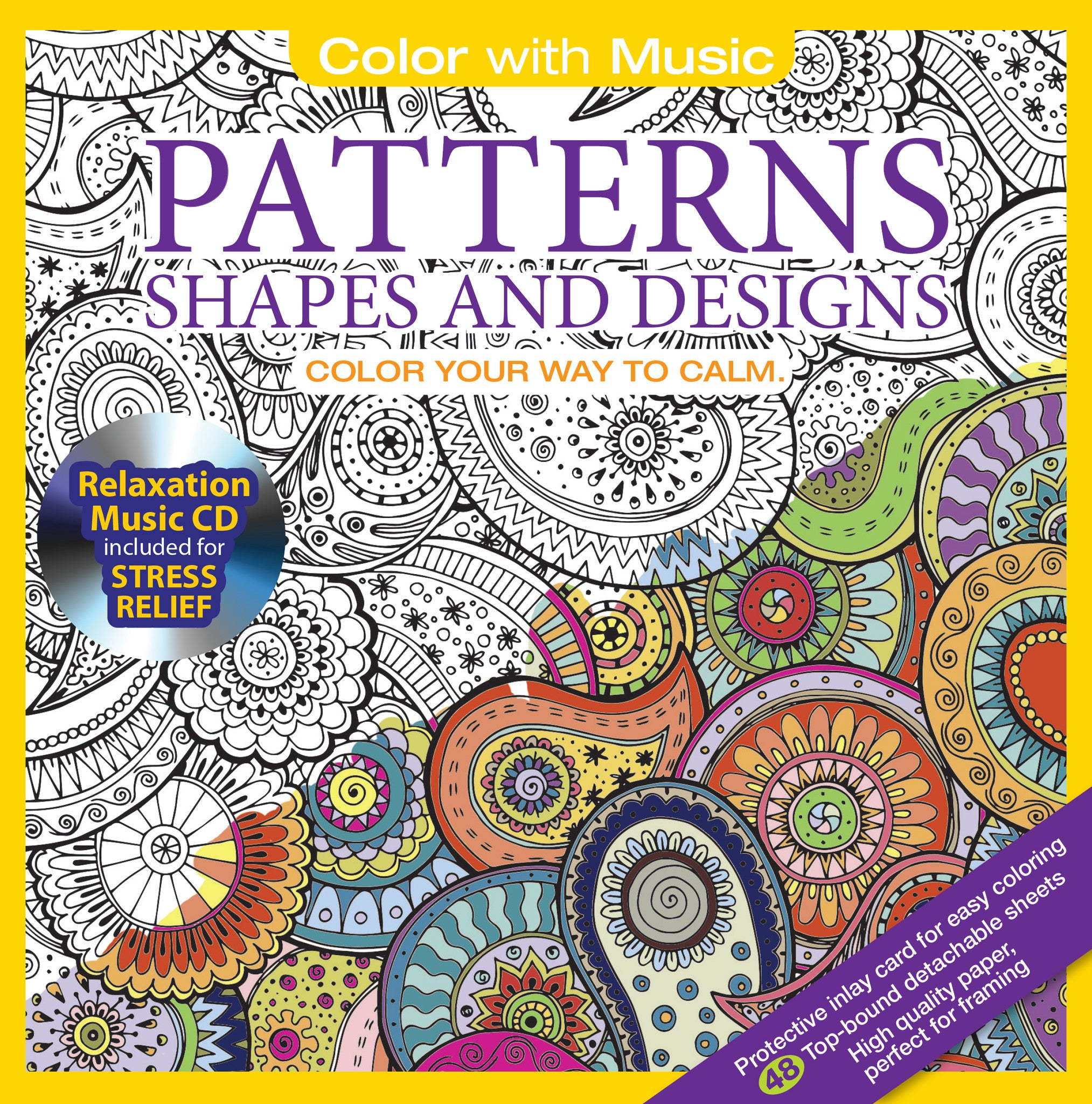 Color With Music Patterns Shapes And Designs Adult Coloring Book Cover