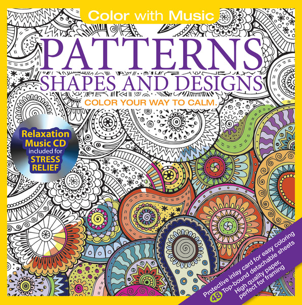 Book Cover Patterns Photo Free Shipping ~ Patterns shapes adult coloring book with relaxation cd