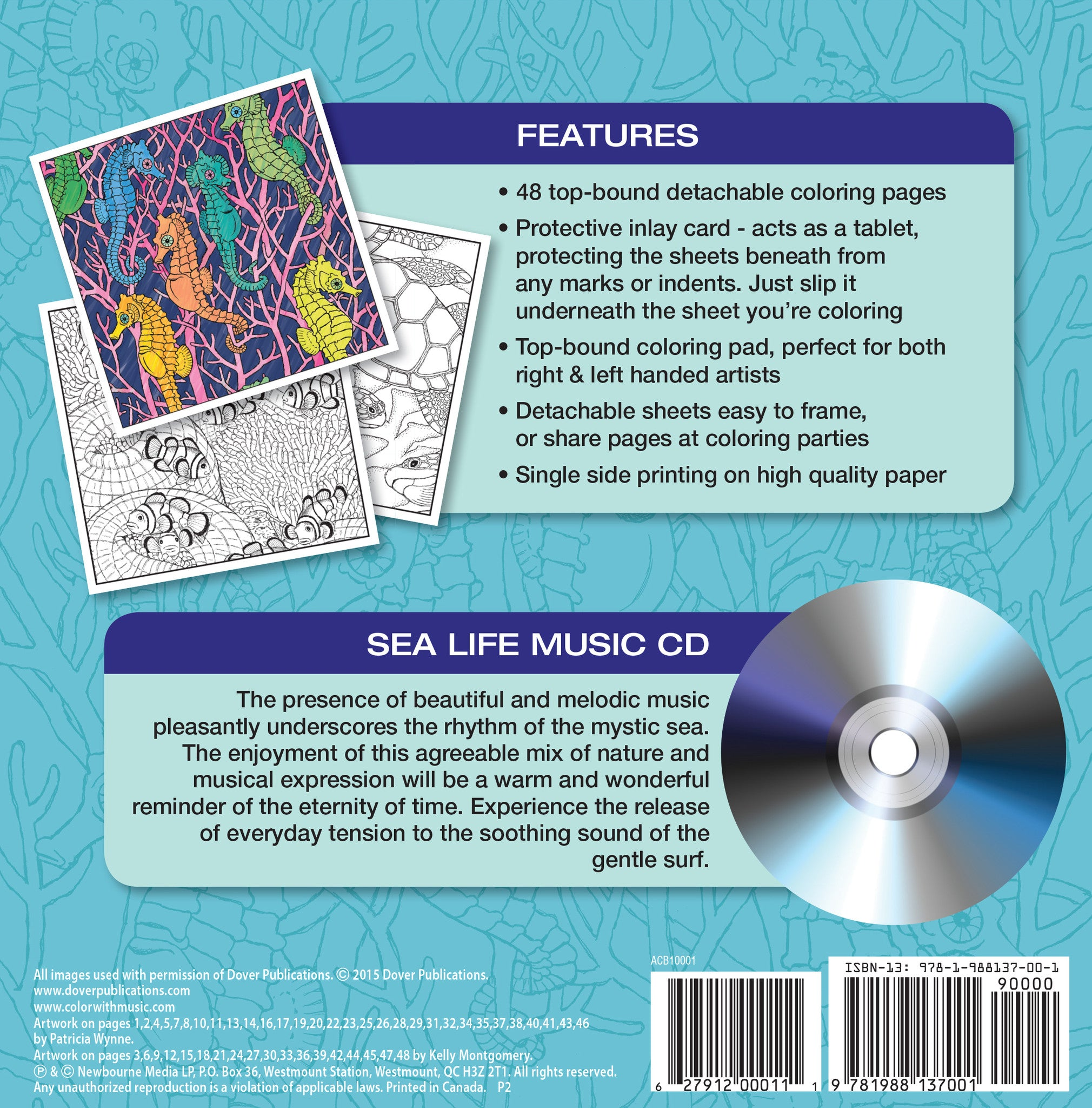 Color With Music Sea Life Adult Coloring Book Back