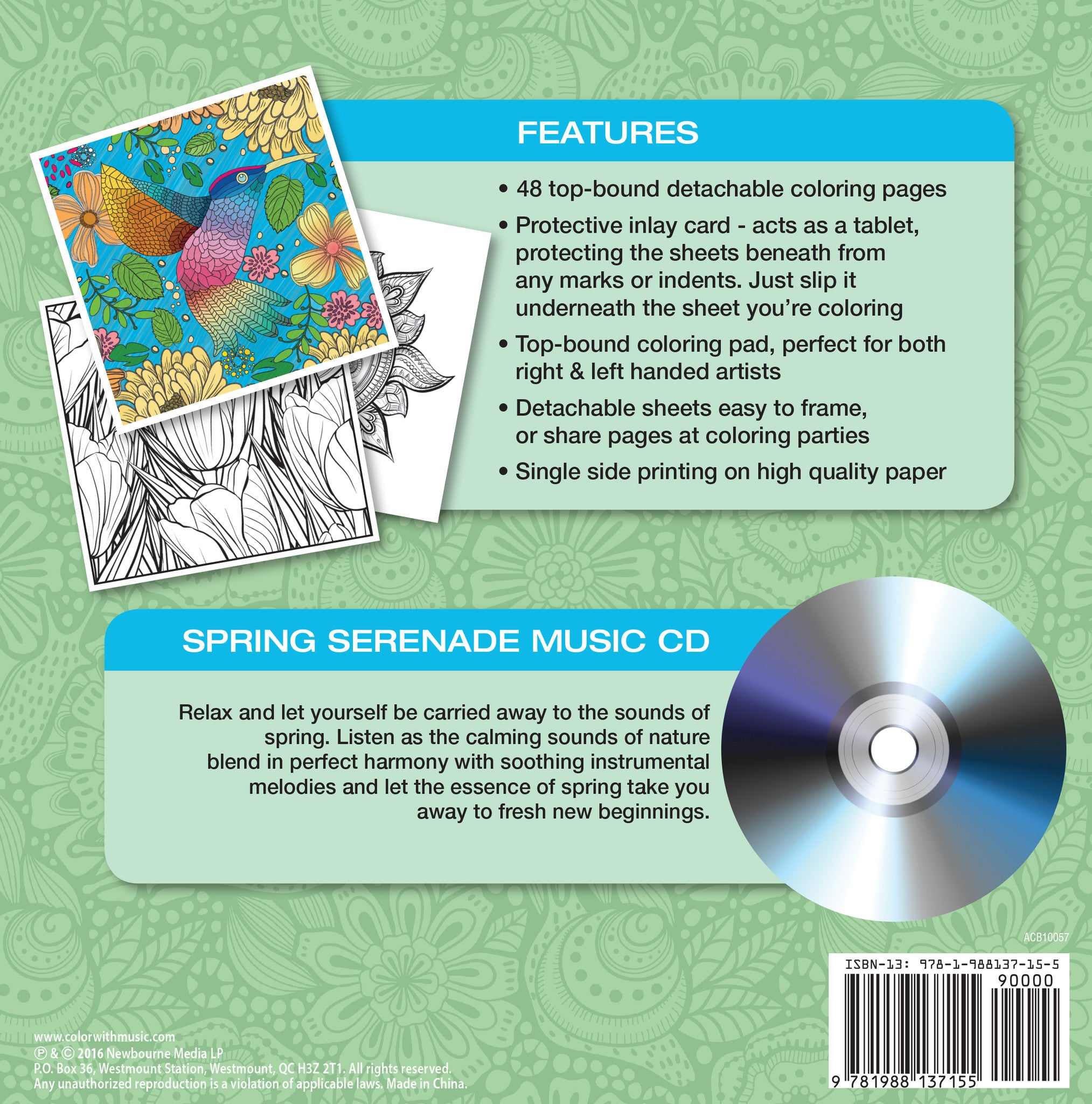 spring serenade coloring book with relaxation cd color