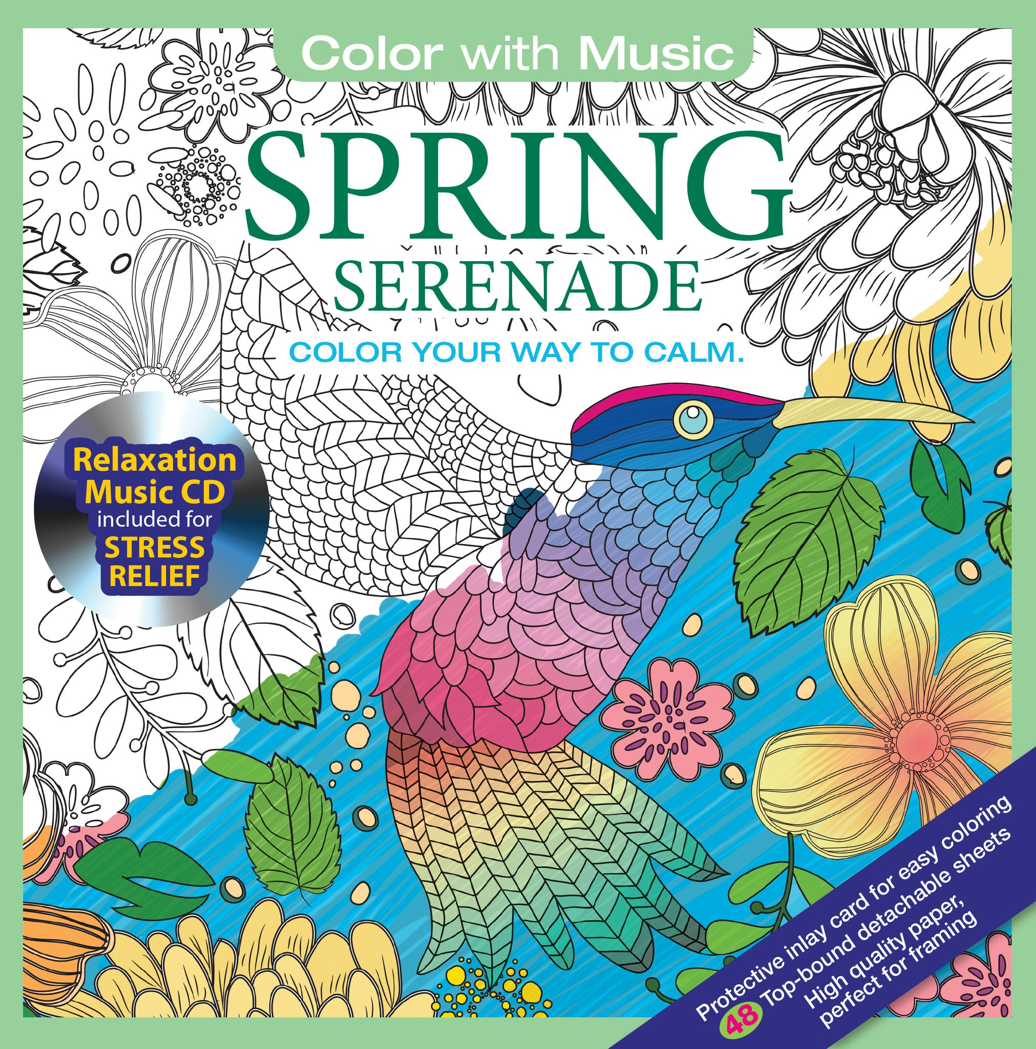 Color With Music Spring Serenade Adult Coloring Book Cover
