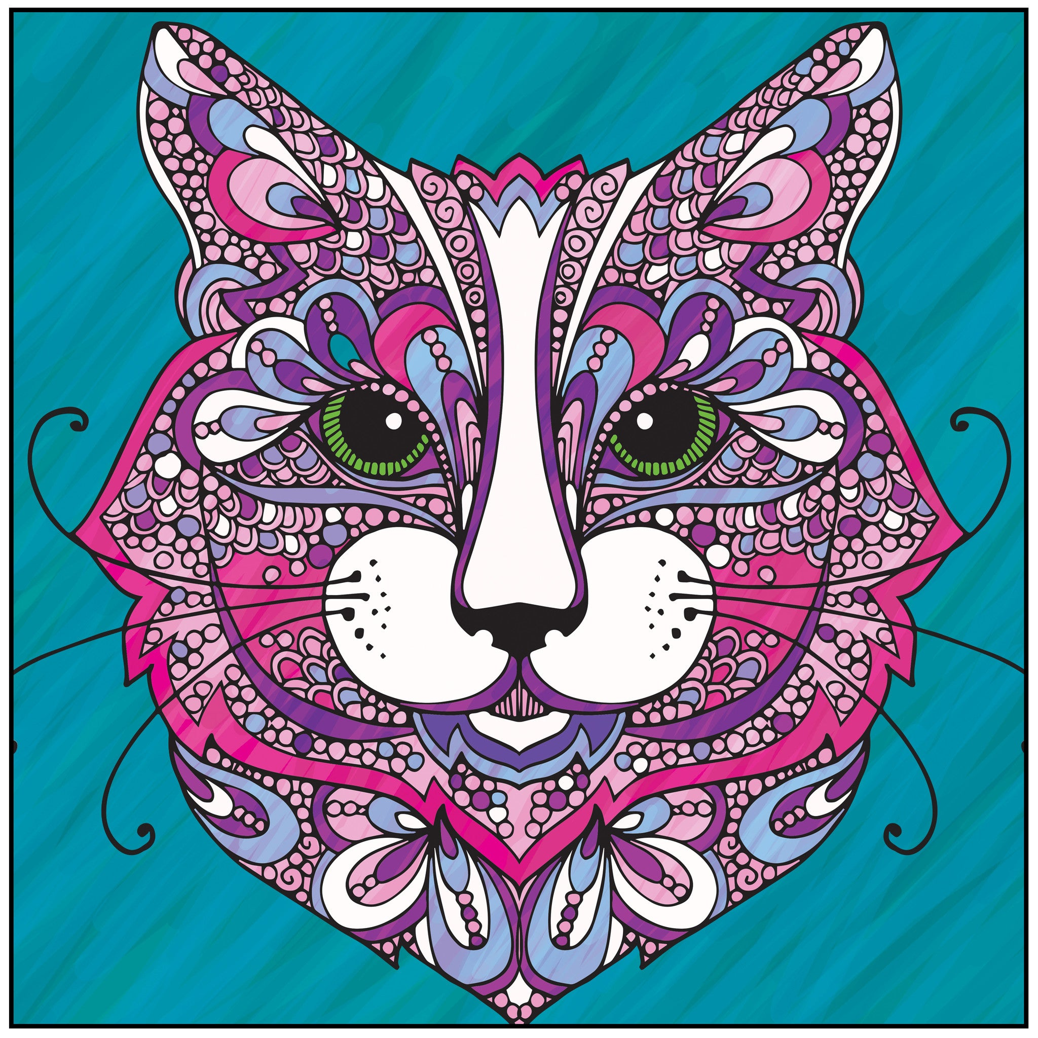 Color With Music Wild About Cats Adult Coloring Book Colored Page