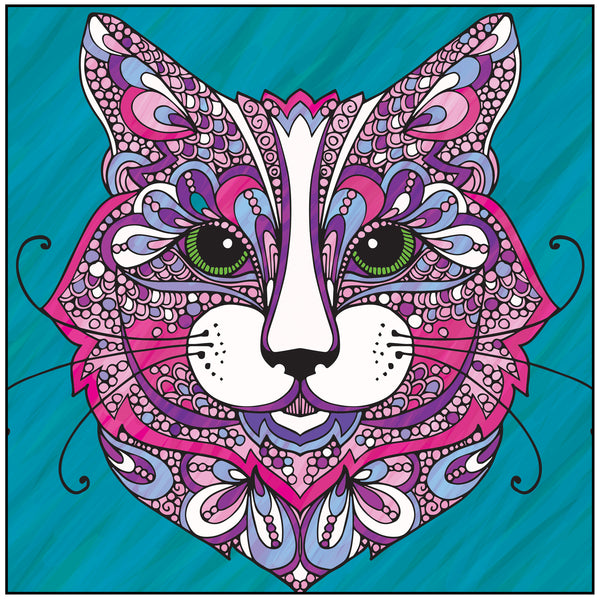 Wild About Cats Adult Coloring Book Includes Bonus Relaxation Cd