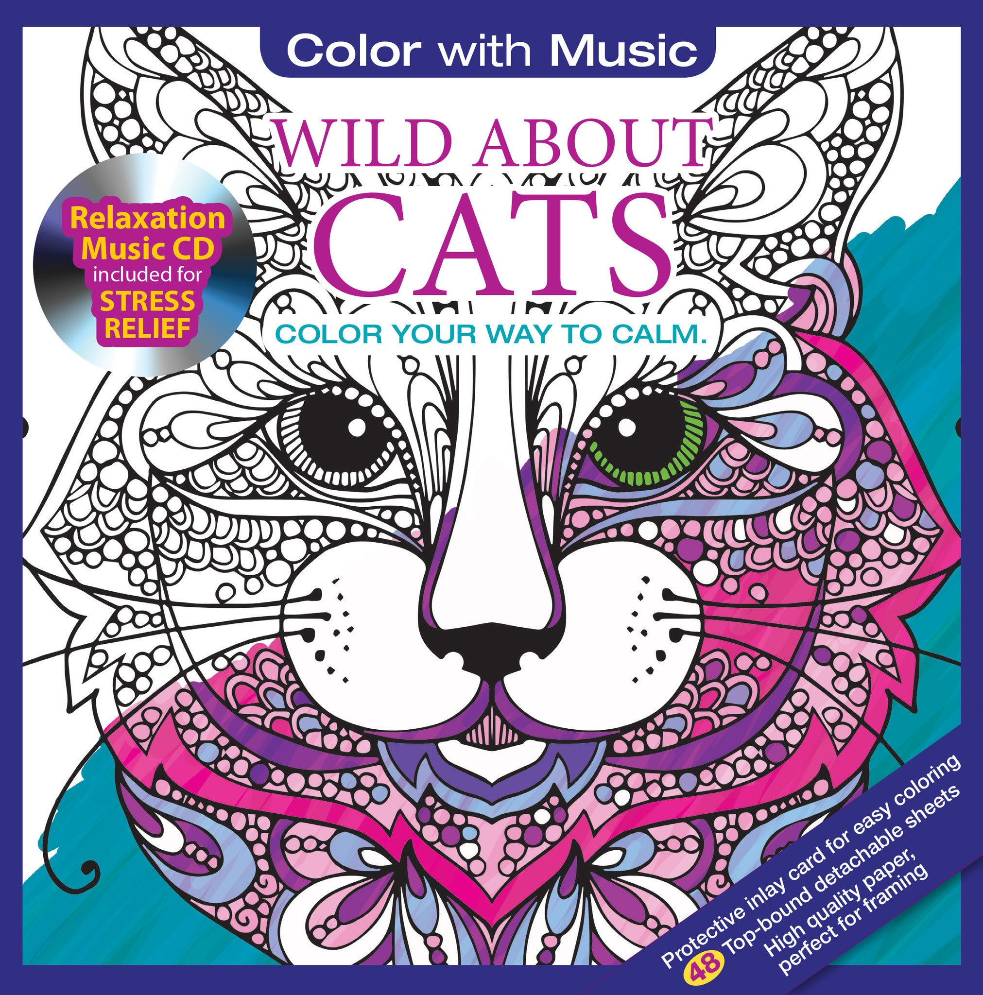Color With Music Wild About Cats Adult Coloring Book Cover