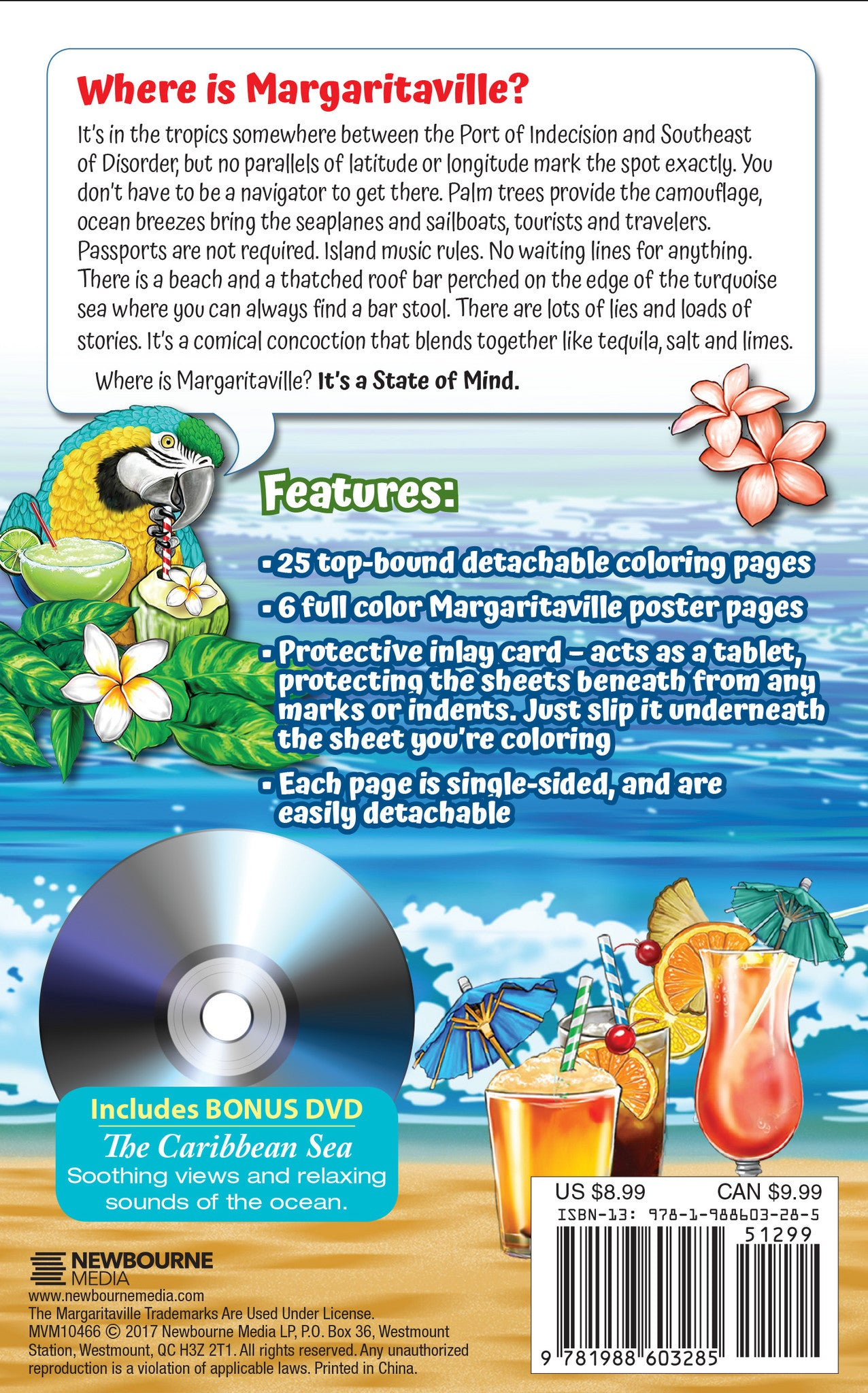 Margaritaville 5 OClock Somewhere Adult Coloring Book With Poster Images And DVD Travel Size