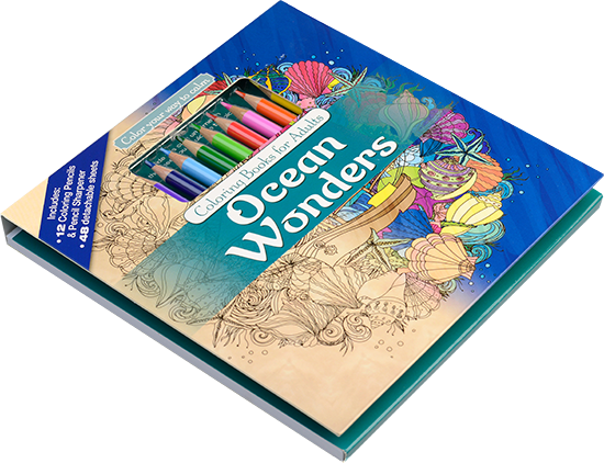 ocean wonders adult coloring book with colored pencils tilted cover