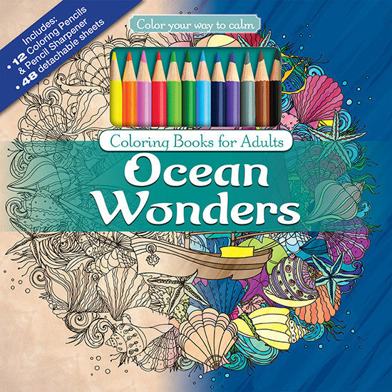 Ocean Wonders Adult Coloring Book With Colored Pencils Cover