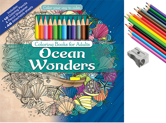 Ocean Wonders Adult Coloring Book With Colored Pencils Cover And