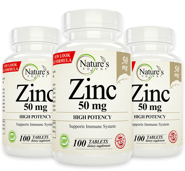 3 X Pack Zinc 50mg Supplement for Immune Support System