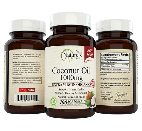 Nature's Potent Coconut Oil 1000mg Capsules
