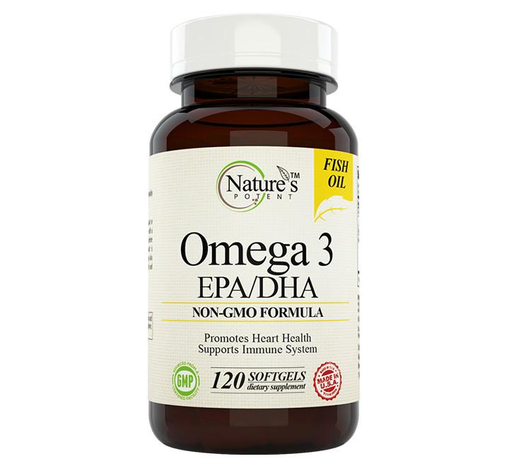 Nature's Potent - 1000mg Omega 3 EPA/DHA Fish Oil, 120 Softgels
