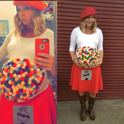 ... red skirt glue gun and fuzzy balls! What more can you ask for?Itu0027s 3-D. If youu0027re not afraid of getting crafty this is definitely an awesome idea ...  sc 1 st  The Spoiled Mama & Easy Pregnancy Costumes to Help You Win Halloween in 2017