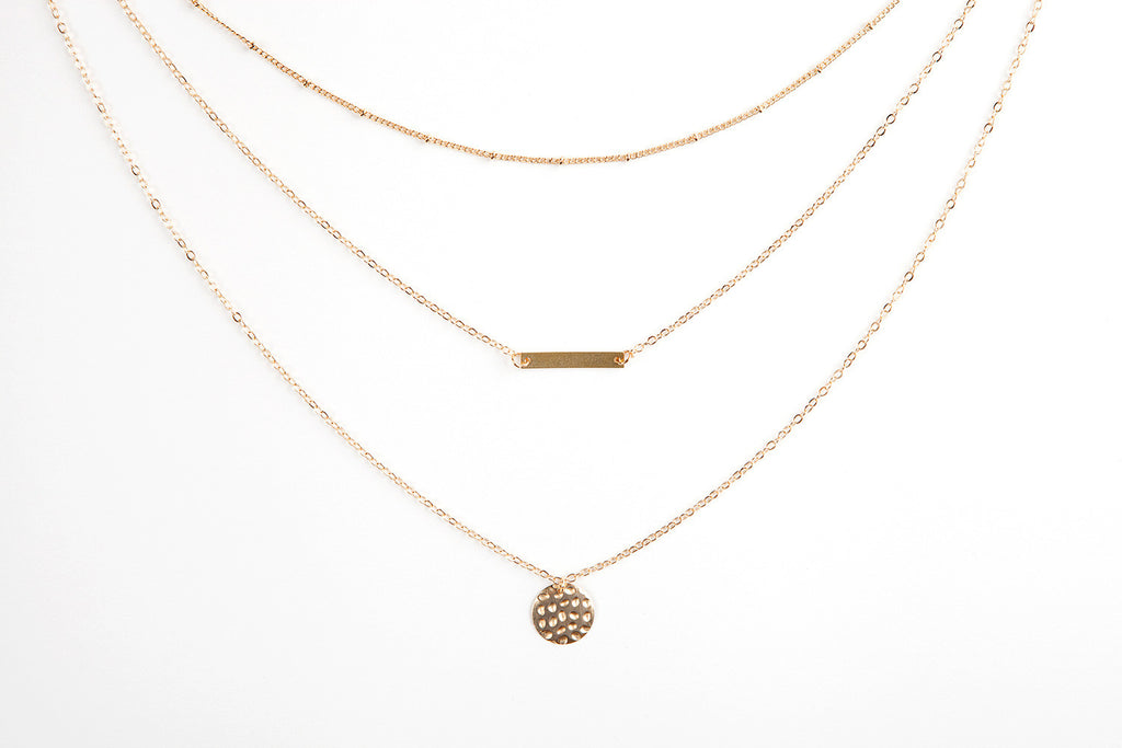 3 Pack - Gold Disc Layer Necklace