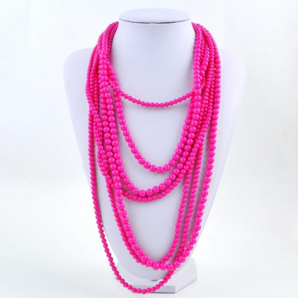 7 Strand Layered Necklace in Neon Pink