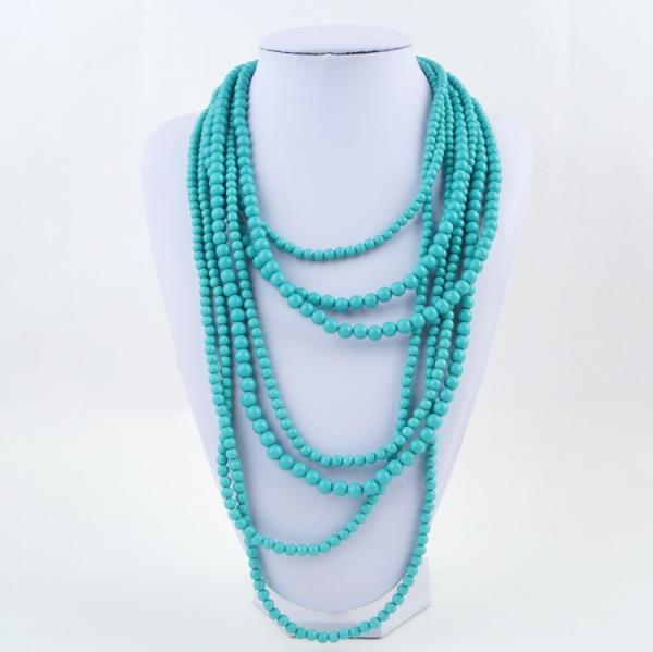 7 Strand Layered Necklace in Teal