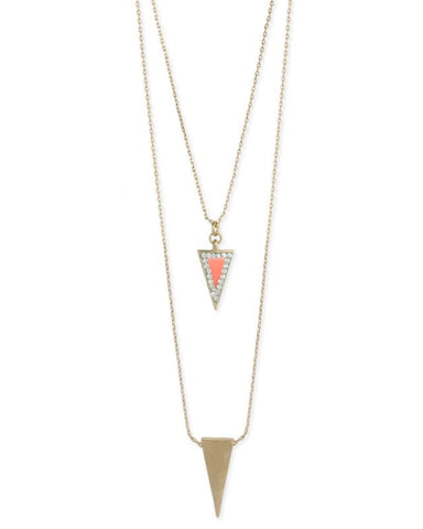 Duo Arrow Necklace in Pink